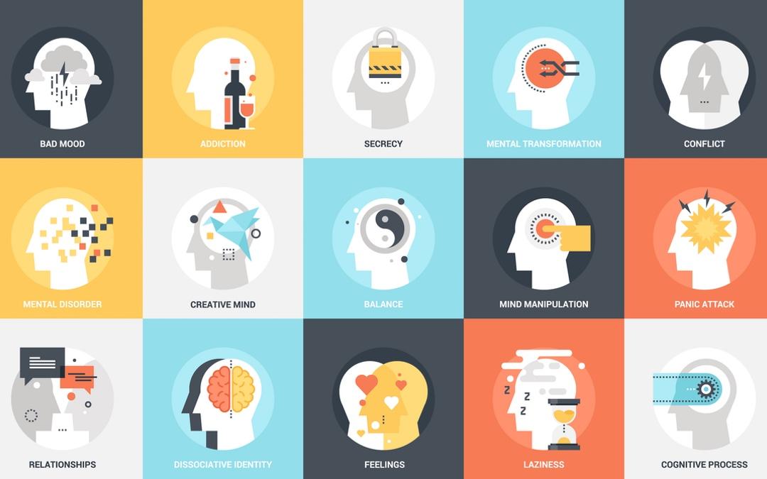 illustrations human heads different attitudes